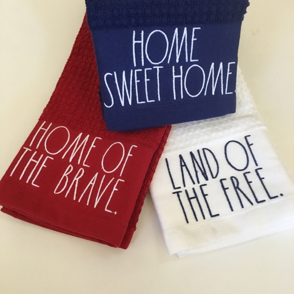 NEW Rae Dunn Red White Blue Kitchen Towels